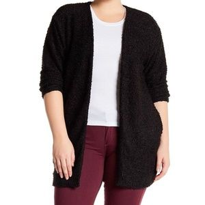 14th & Union Black Textured Knit Open Cardigan NEW